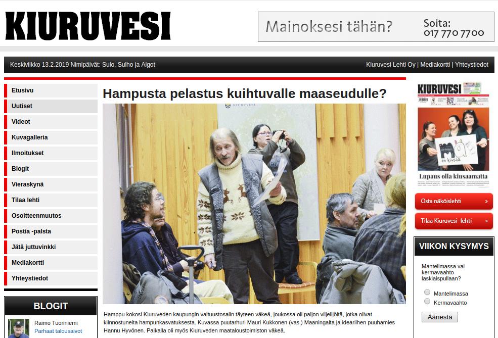 Hampusta Pelastus Kuihtuvalle Maaseudulle? :: Kiuruvesi-Lehden Uutiset